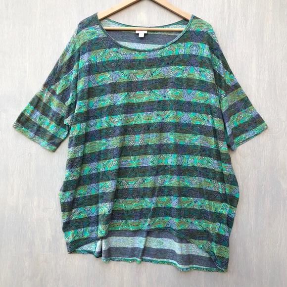 LuLaRoe Tops - Lularoe Irma top printed stripe green 2x